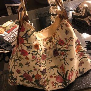 Gucci floral horsebit hobo bag
